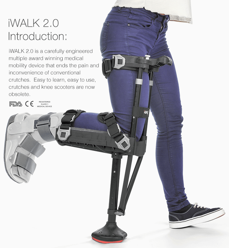 iWalk 2.0 hand free walking with a broken foot no crutches